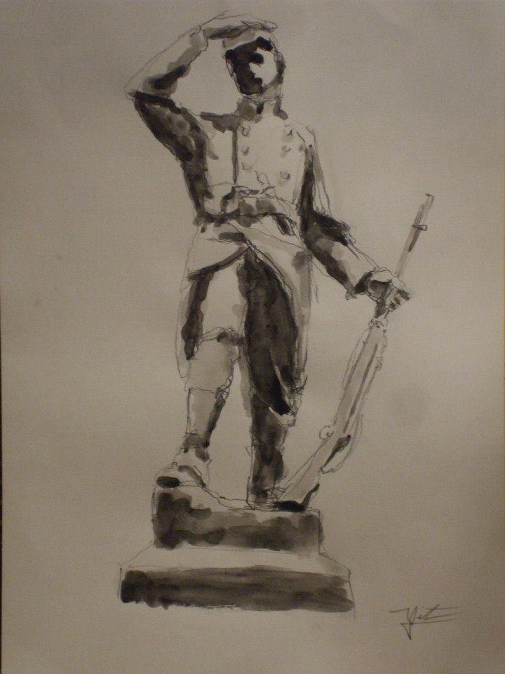 monument aux morts de la première guerre mondiale. Crayon et jus de gouache