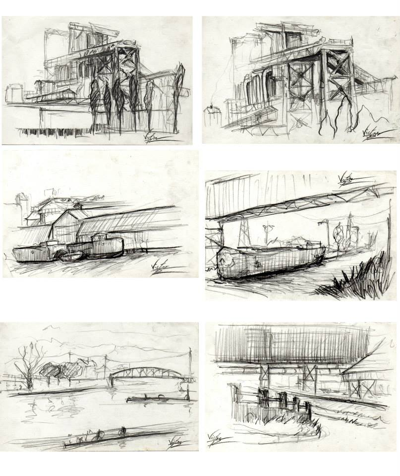 pages de mon carnet de croquis : usine Solvay