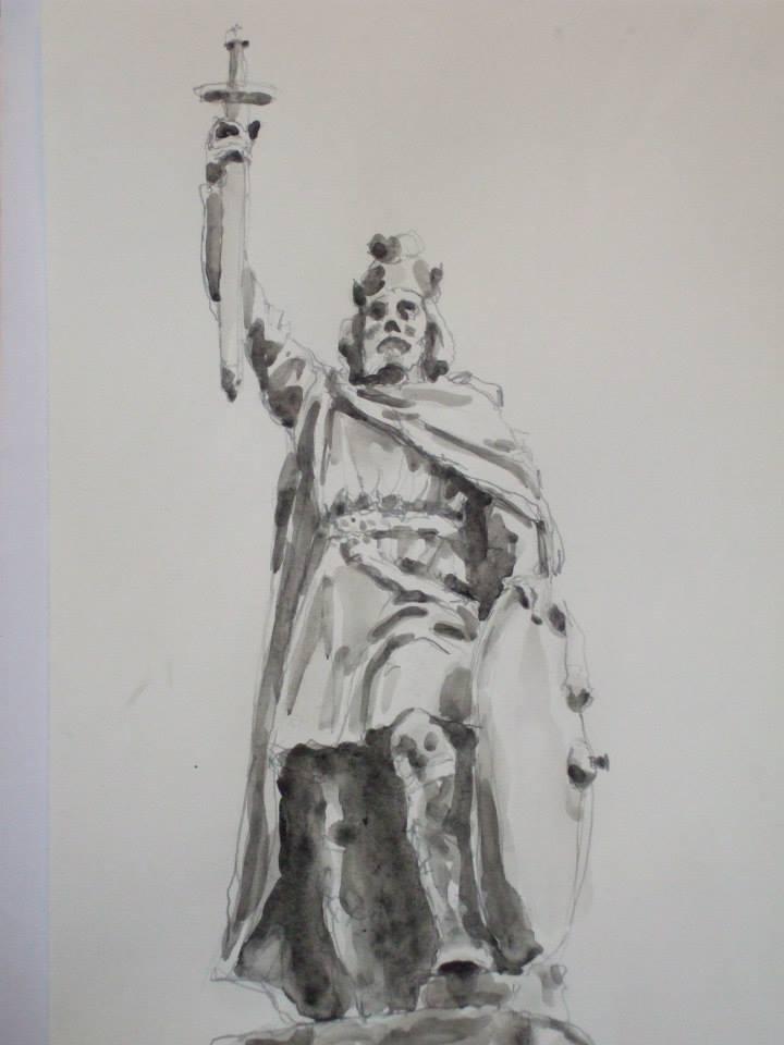 crayon et jus de gouache d\'après la statue d\'Alfred le Grand à Winchester