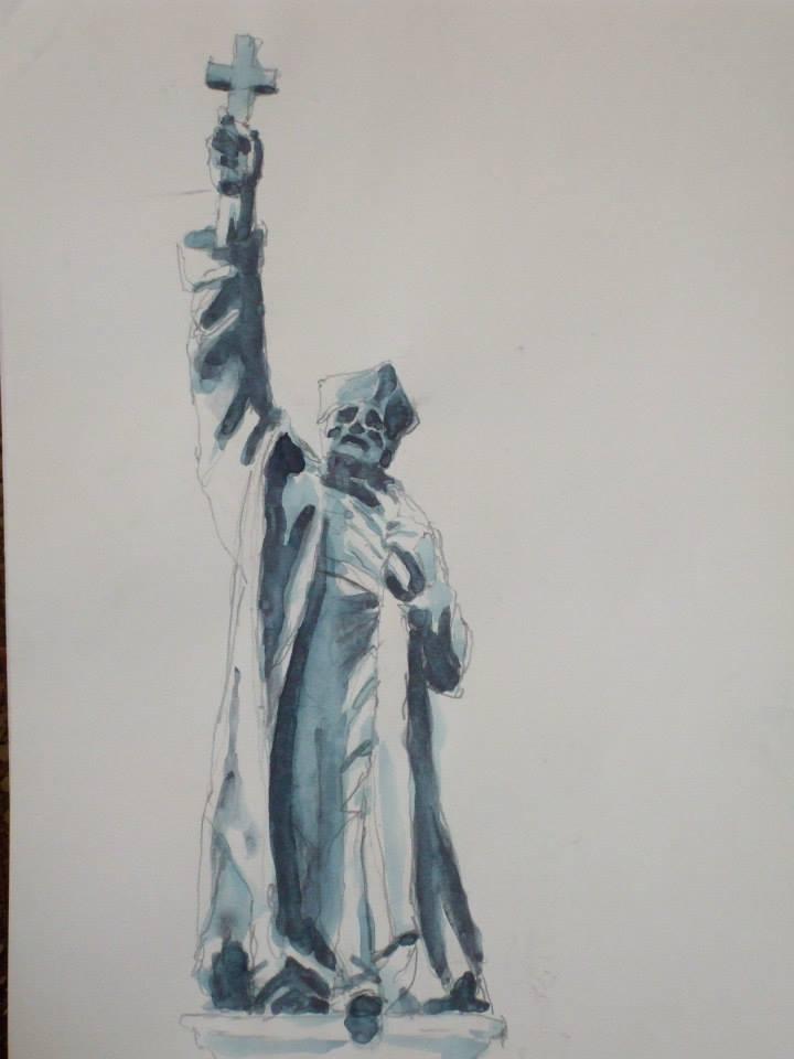 crayon et jus de gouache d\'aprèsla statue du prêtre Jean de Brébeuf