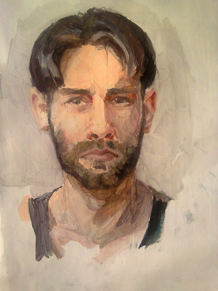 autoportrait à l'huile sur papier cartonné50x34,5cm