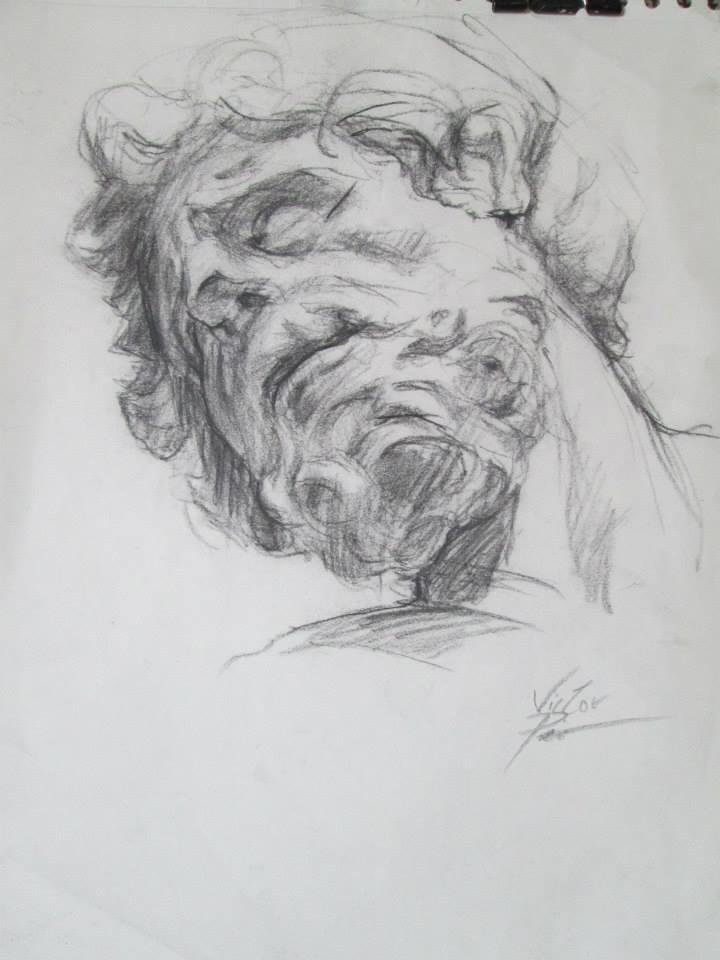 dessin au crayon fusain d\'une statue au Louvre