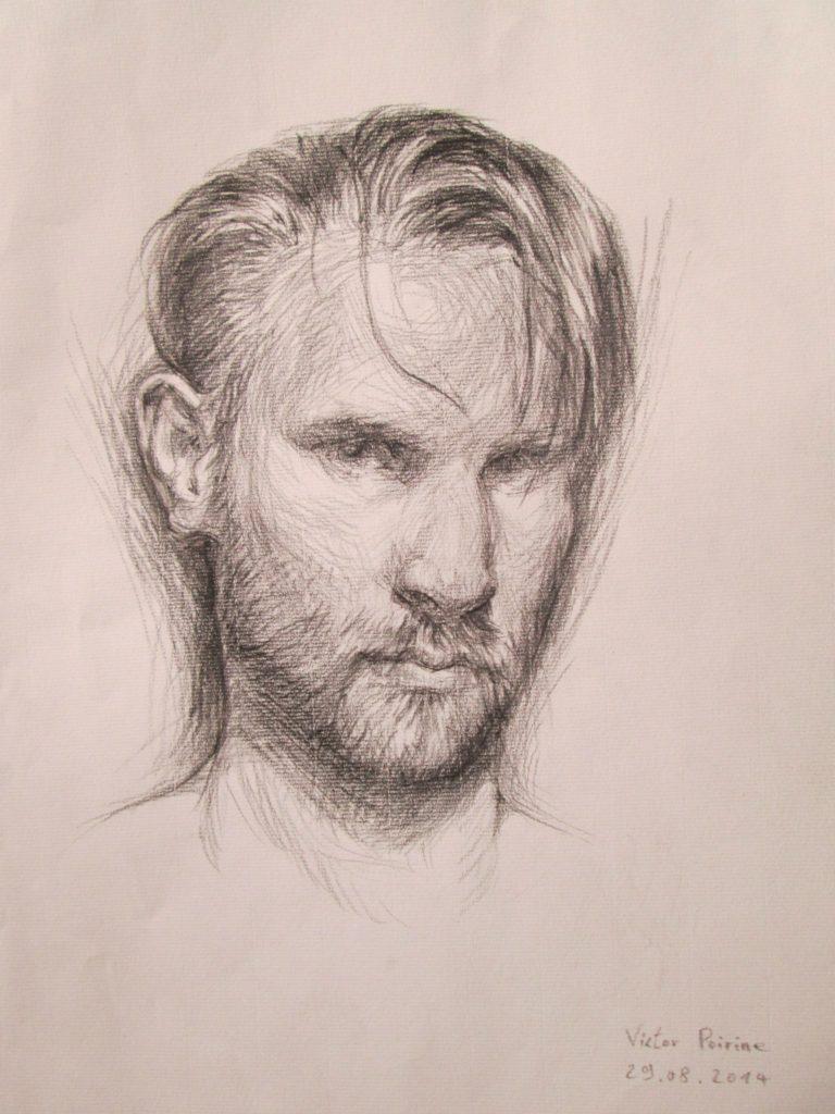 crayon fusain, autoportrait