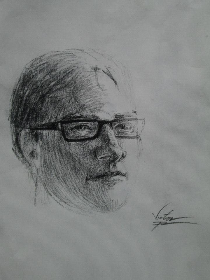 Portrait au fusain de l\'un de mes meilleurs amis en 25 minutes. Non fini