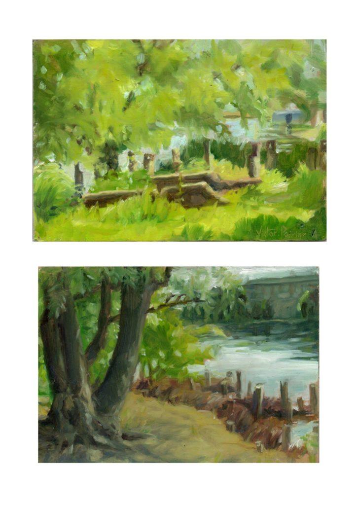 2 paysages à l'huile sur carton en bord de Seine17,5x12cm 17x12cm