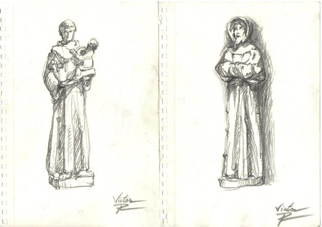 dessins de statues dans une Eglise