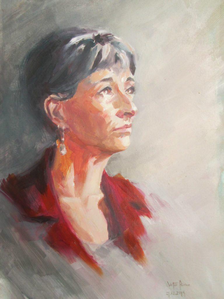 Portrait de ma maman en avec un manteau rouge, huileun cadeau
