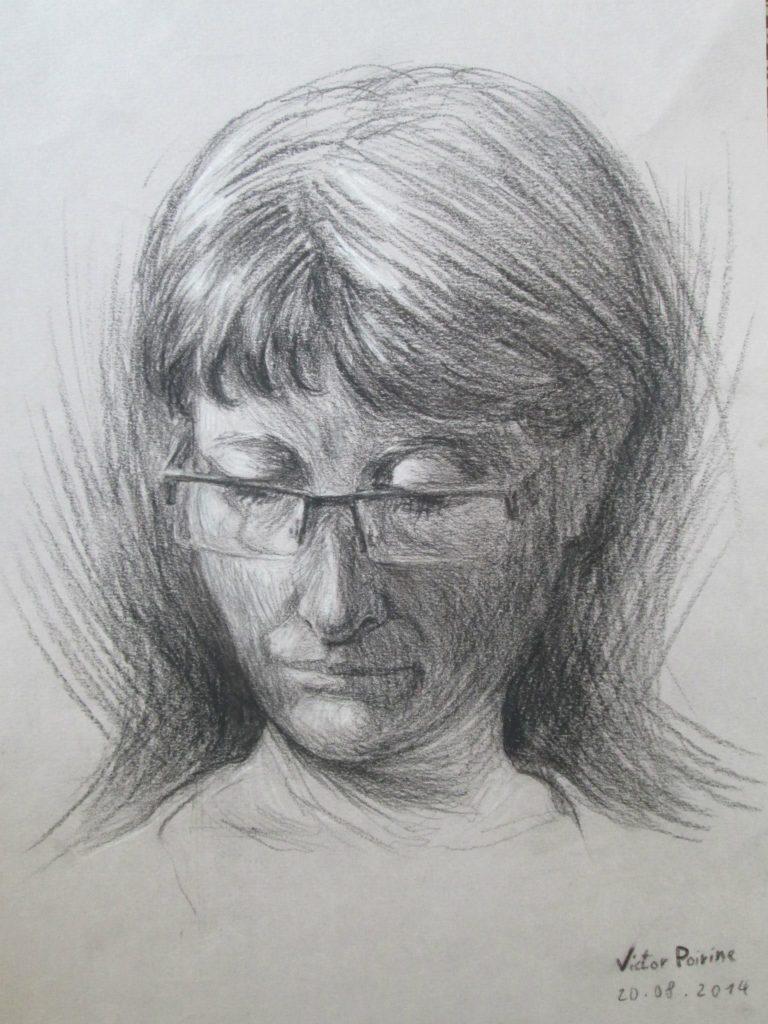 Portrait de ma maman en 30 minutesFusain
