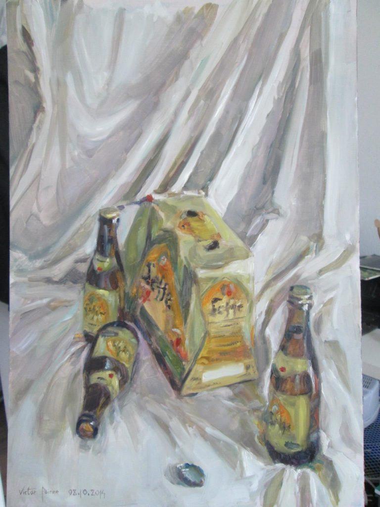 pack de bières, peinture à l'huile sur carton43,5x29,8cm