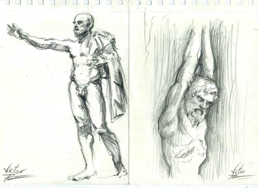croquis de statues au Louvre