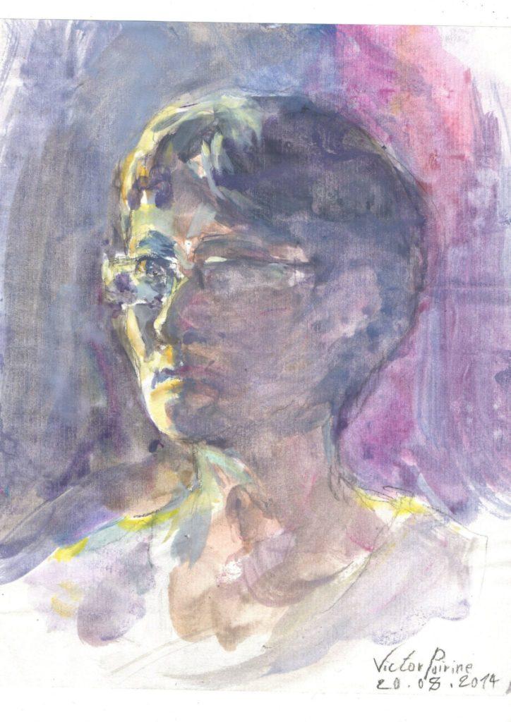 rapide portrait de ma mère : gouache et eauun cadeau