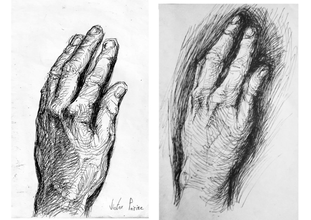 dessins au stylo de ma main gauch. Celle de droite est vendue
