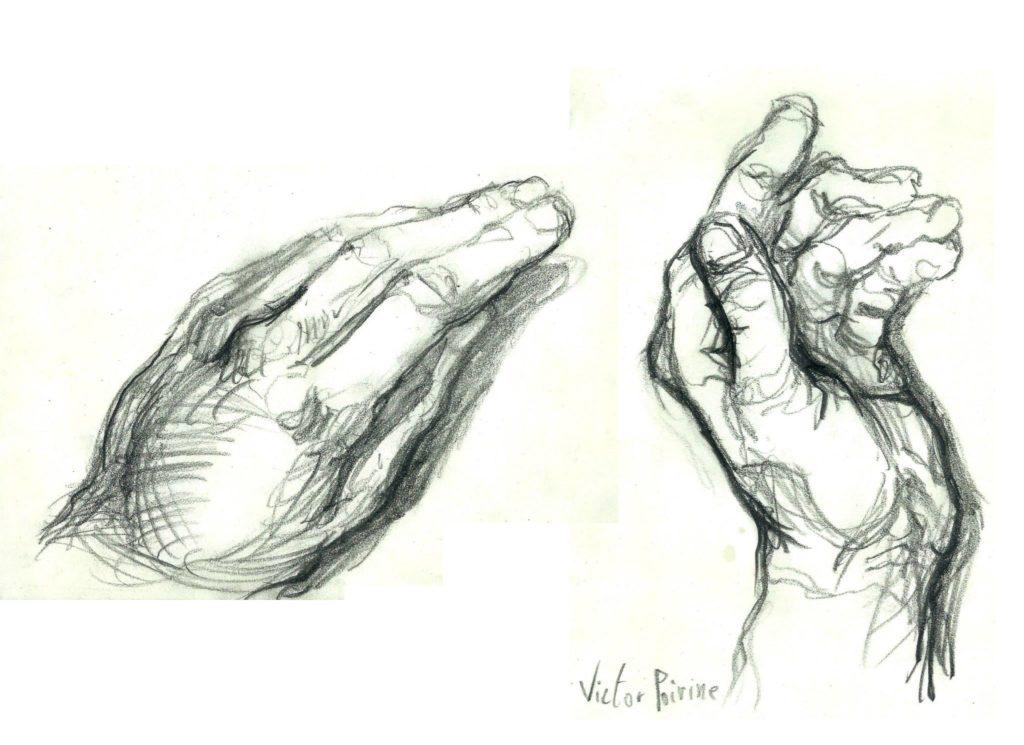 croquis rapides de mains