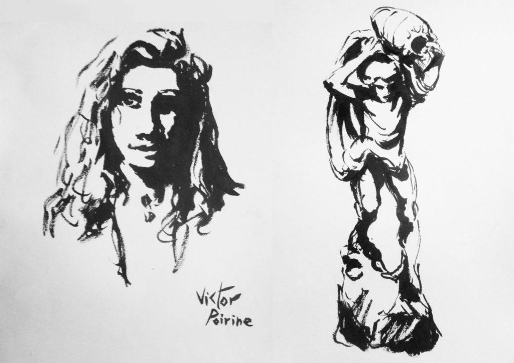 portrait à l\'encre et dessin à l\'encre d\'une statuecadeaux