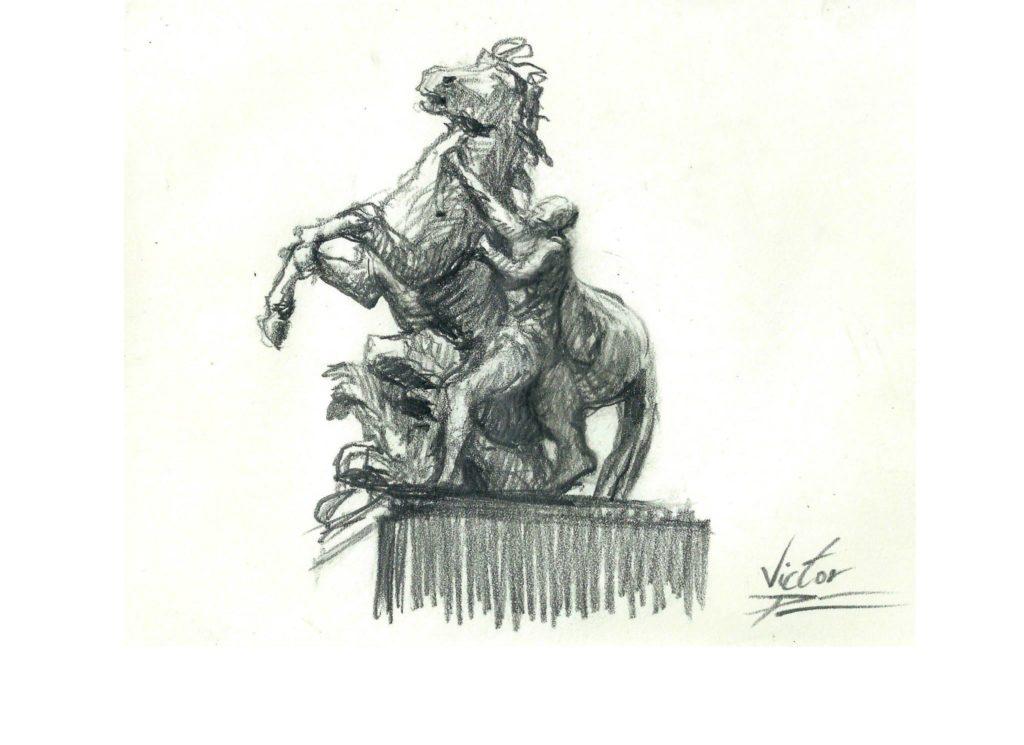 croquis de statue au Louvre