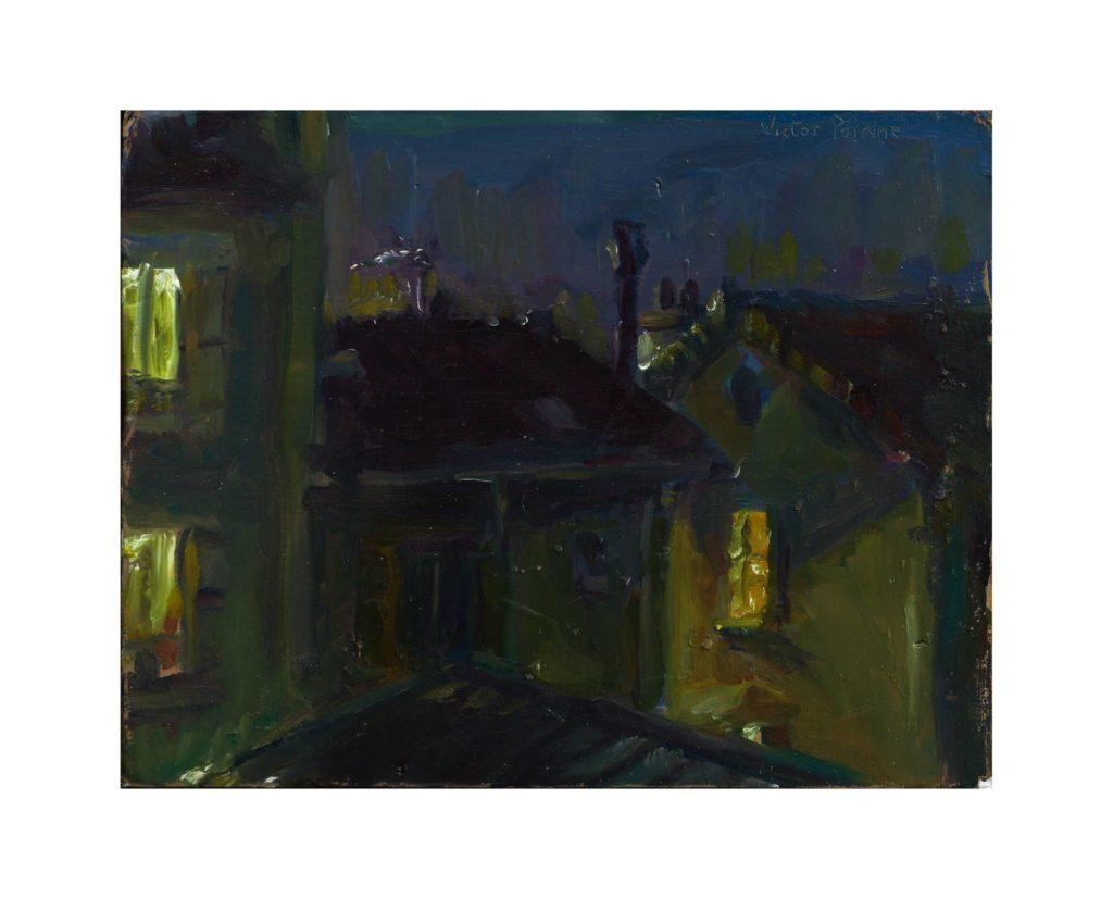 par ma fenêtre à Alfortville,  durant une nuit pluvieuse oil on cardboard / huile sur carton 15.8X20.5 cm