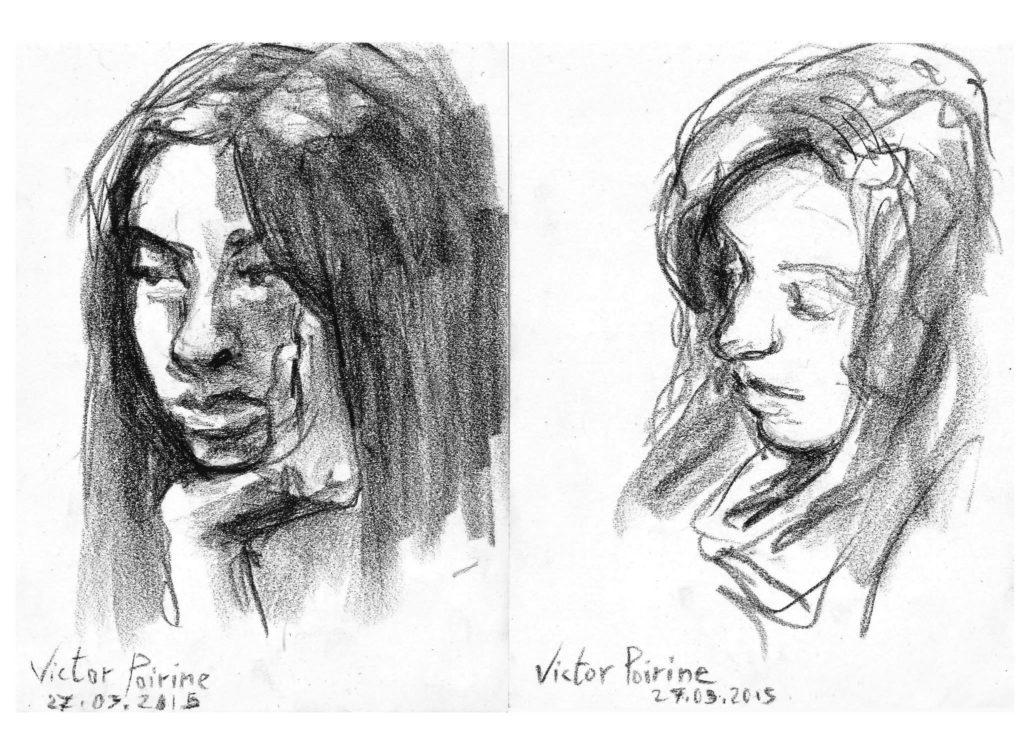 portraits de deux demoiselles. Craie contécelui de gauche vendu