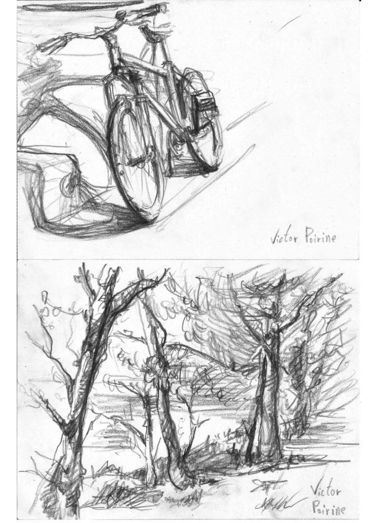 croquis d\'un vélo et de quelques arbres en bord de Seine