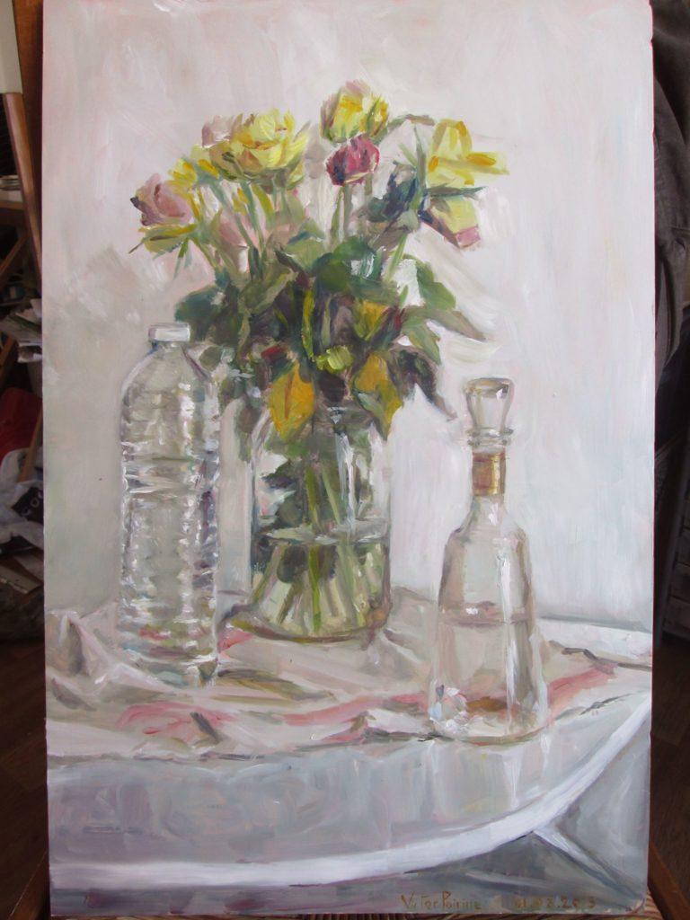 transparences : vase et bouteilles N°2, peinture à l'huile sur carton32,3x49,9cm