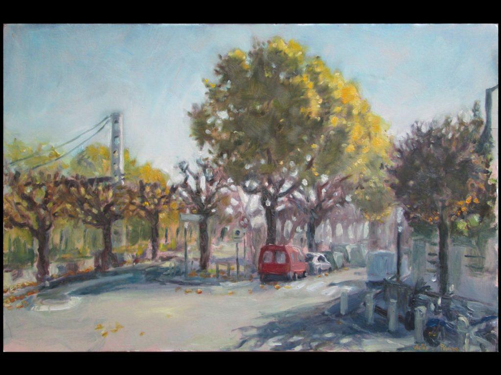 intersection de la rue de Seine et du chemin latéral à Alfortville n°2huile sur carton, 49,5 X 32,5 cm