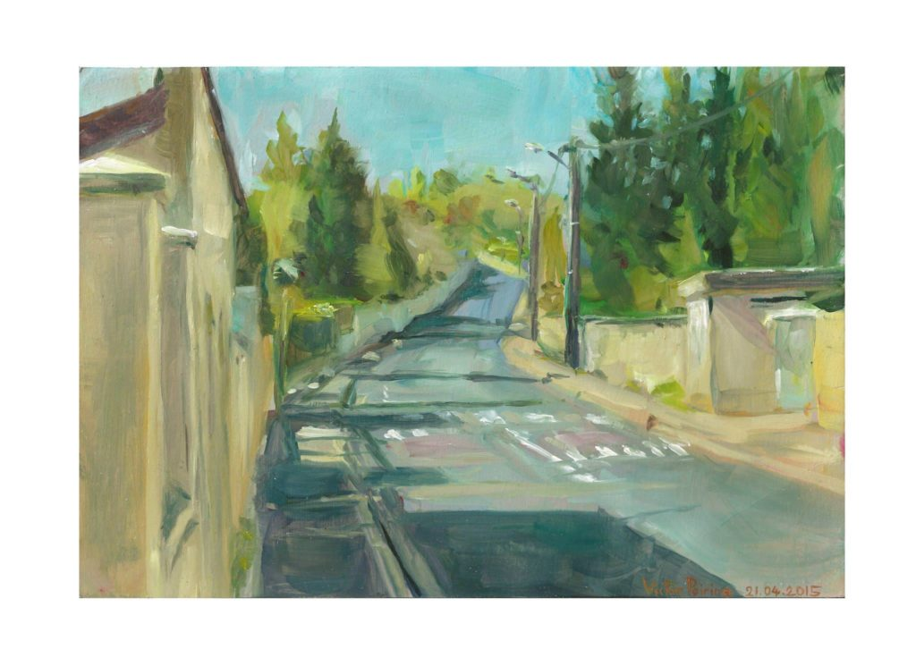 Rue François Richard à Lunéville, peinture à l'huile sur papier cartonné25X17.2 cm