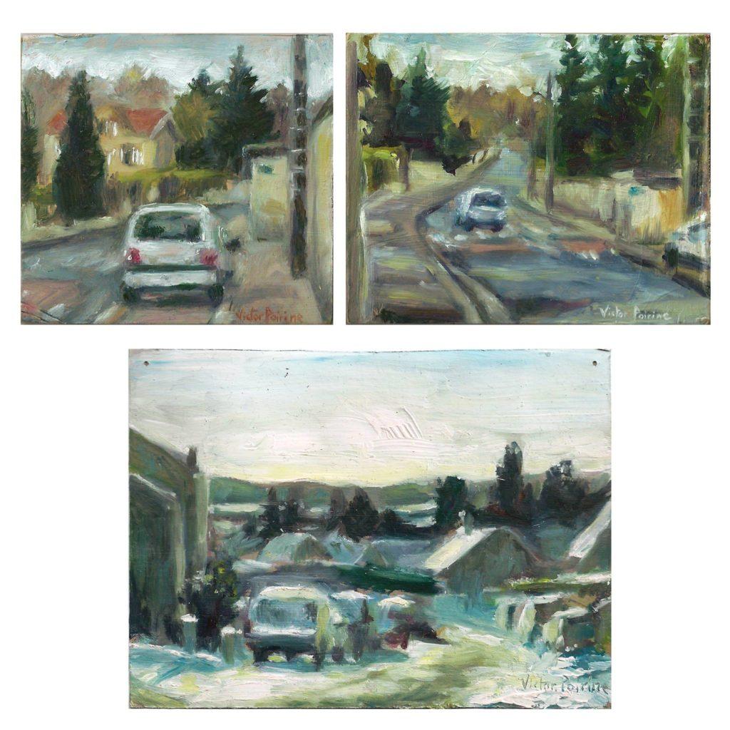 à Lunéville en Hiver. Côte de Méhon et Rue Alfred Renaudin. Petites peintures à l'huile. Les deux du dessus sur carton et celle du bas sur papier cartonné8,5x8cm    10x8cm   13,2x10cm