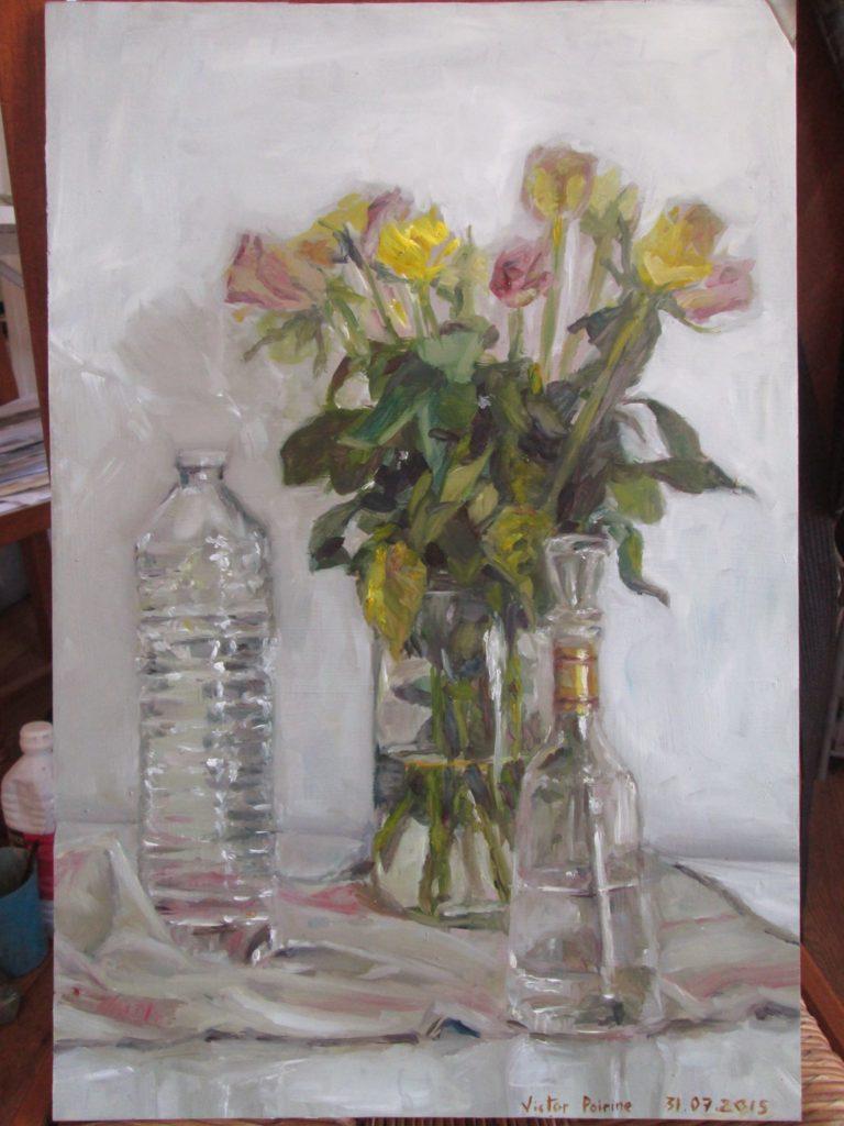 transparences : vase et bouteilles N°1, peinture à l'huile sur carton30x45,2cm