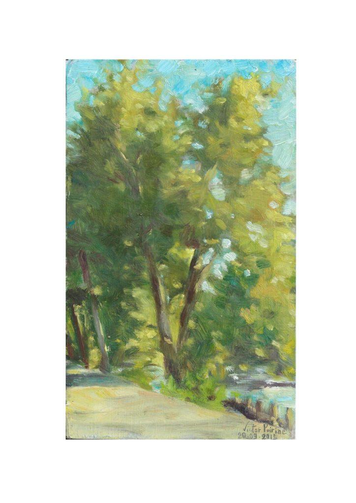arbres en bord de Seine à Alfortville, huile sur carton14X33 cm