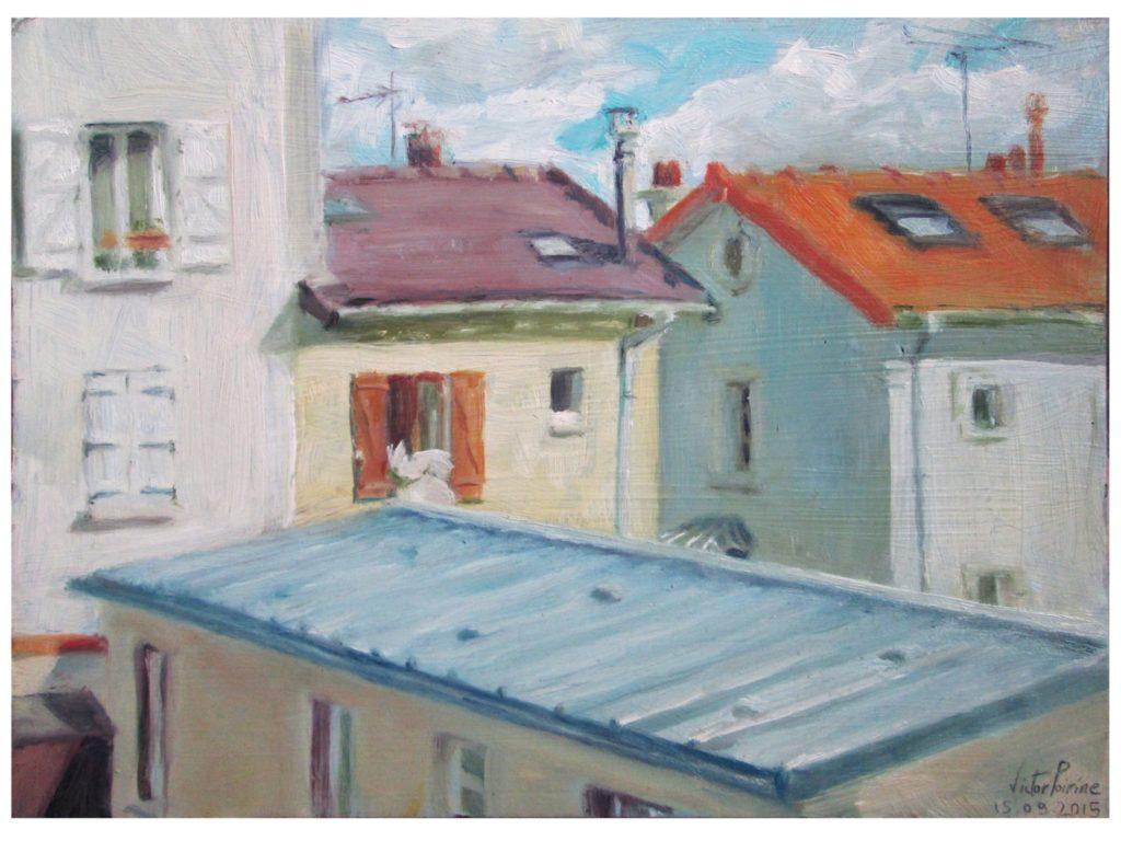 par ma fenêtre, huile sur carton30X22 cm