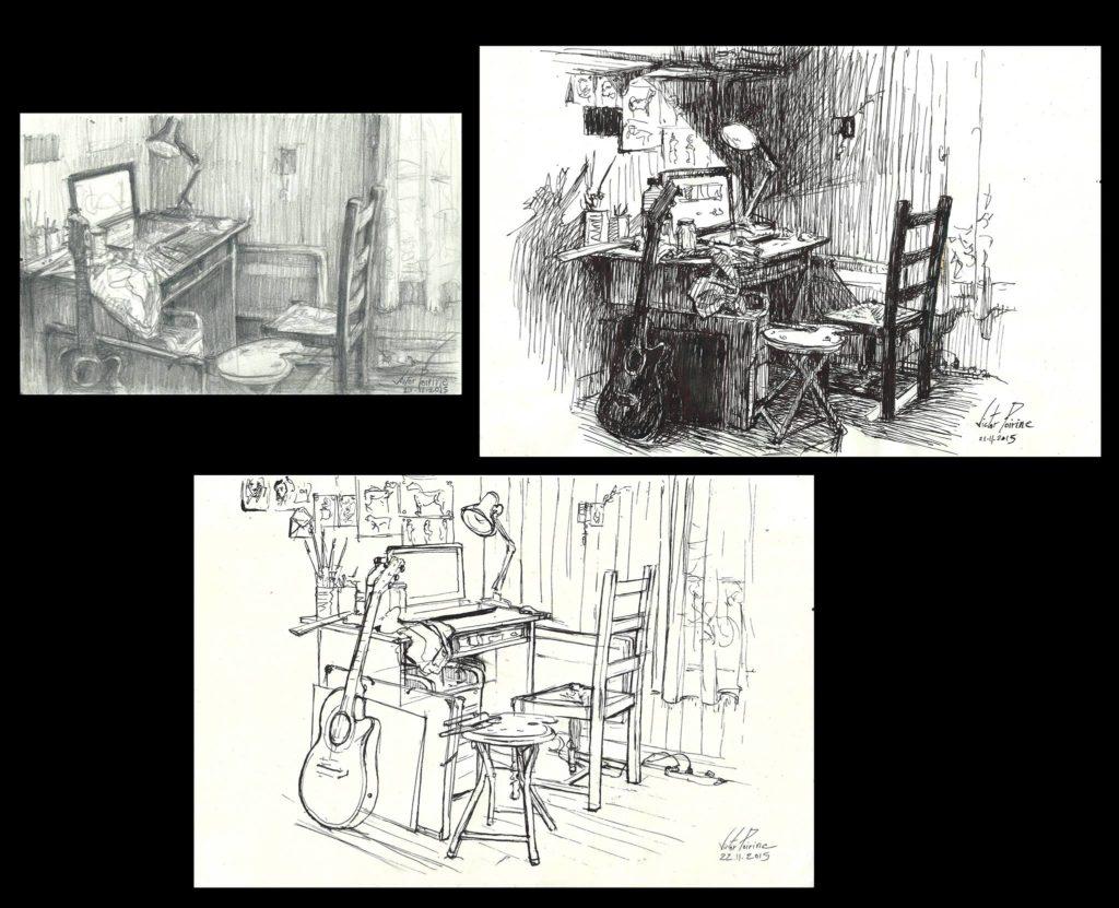 esquisses préparatoires pour une peinture. Celle en haut à droite est vendue