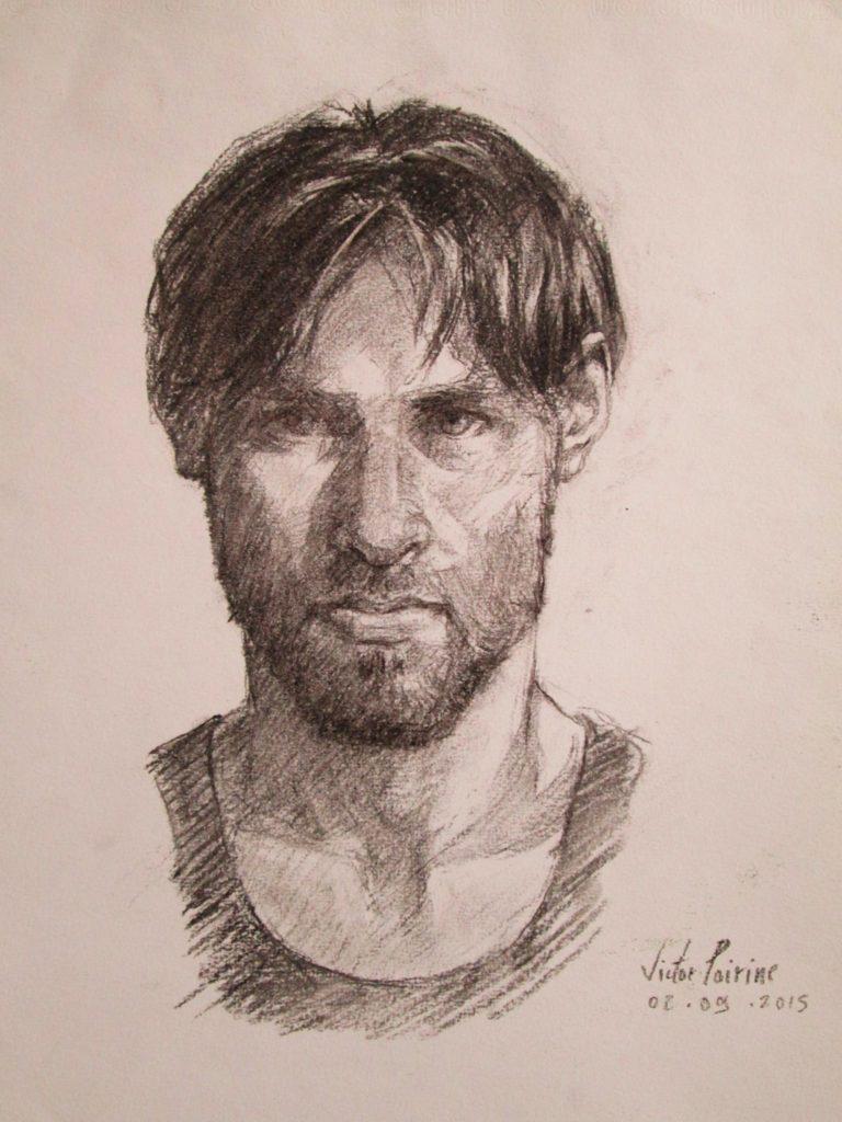 un autoportrait au fusainvendu