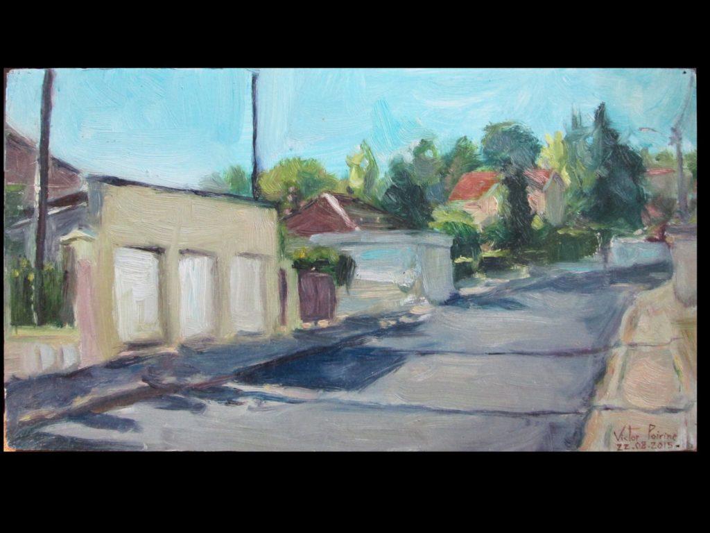 Rue François Richard à Lunéville, huile sur carton35,8X19,2 cm