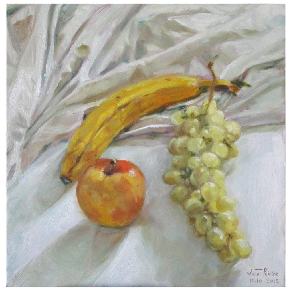 banane, pomme et raisin. Huile sur carton29,1X29,8 cm