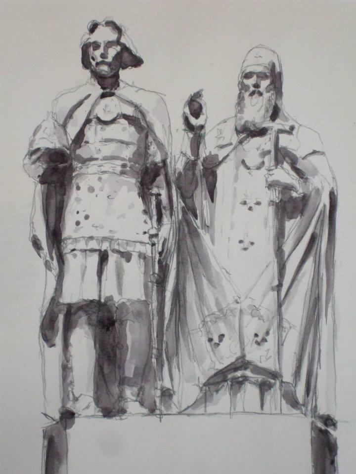 crayon et jus de gouache d\'après la statues de Kouzma Minine et de Dimitri Pojarski de Moscou