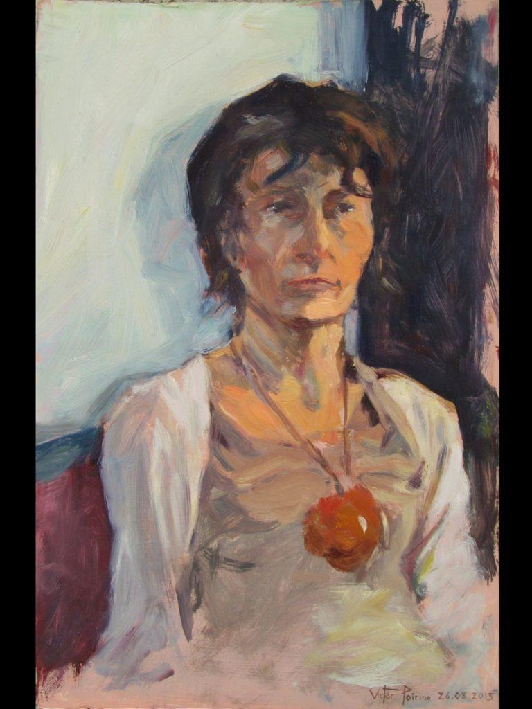 portrait esquissé de ma maman, huile sur carton50X32,8