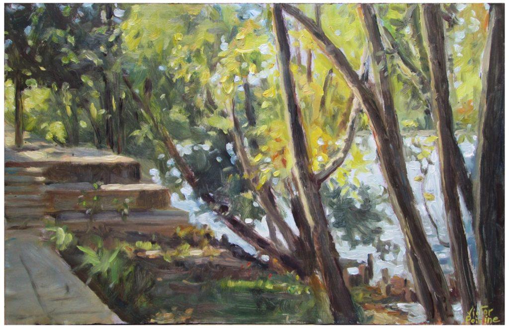 arbres en bord de Seine à Alfortville, huile sur carton49,5X31,5