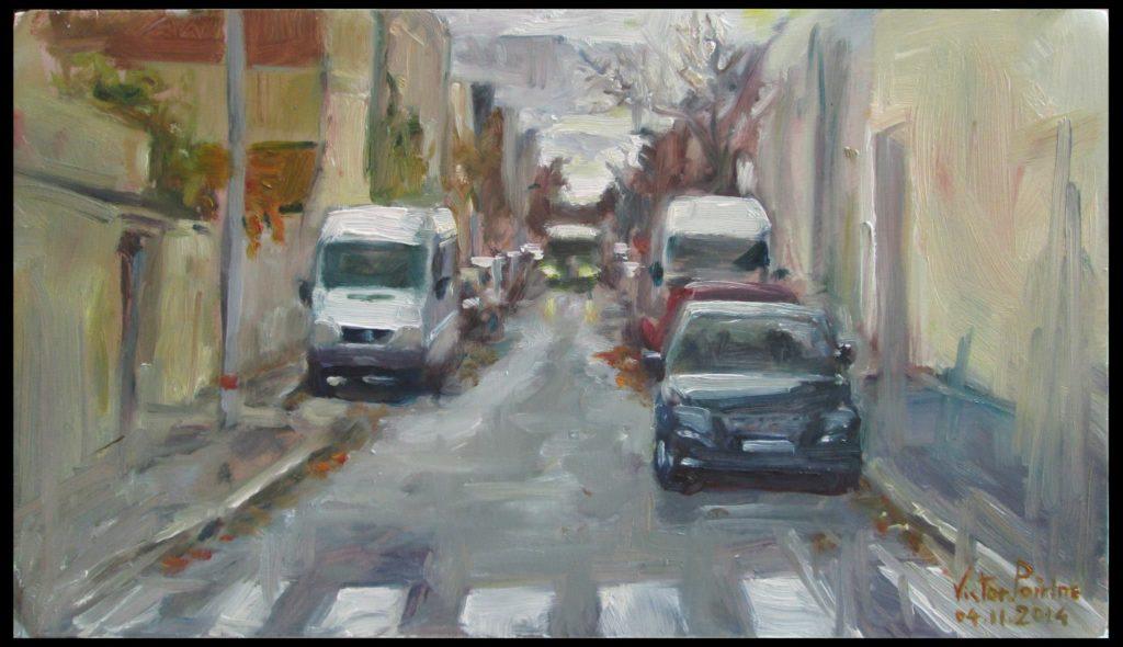Rue Marcel Bourdarias à Alfortvillehuile sur carton, 33,2X18,9 cm