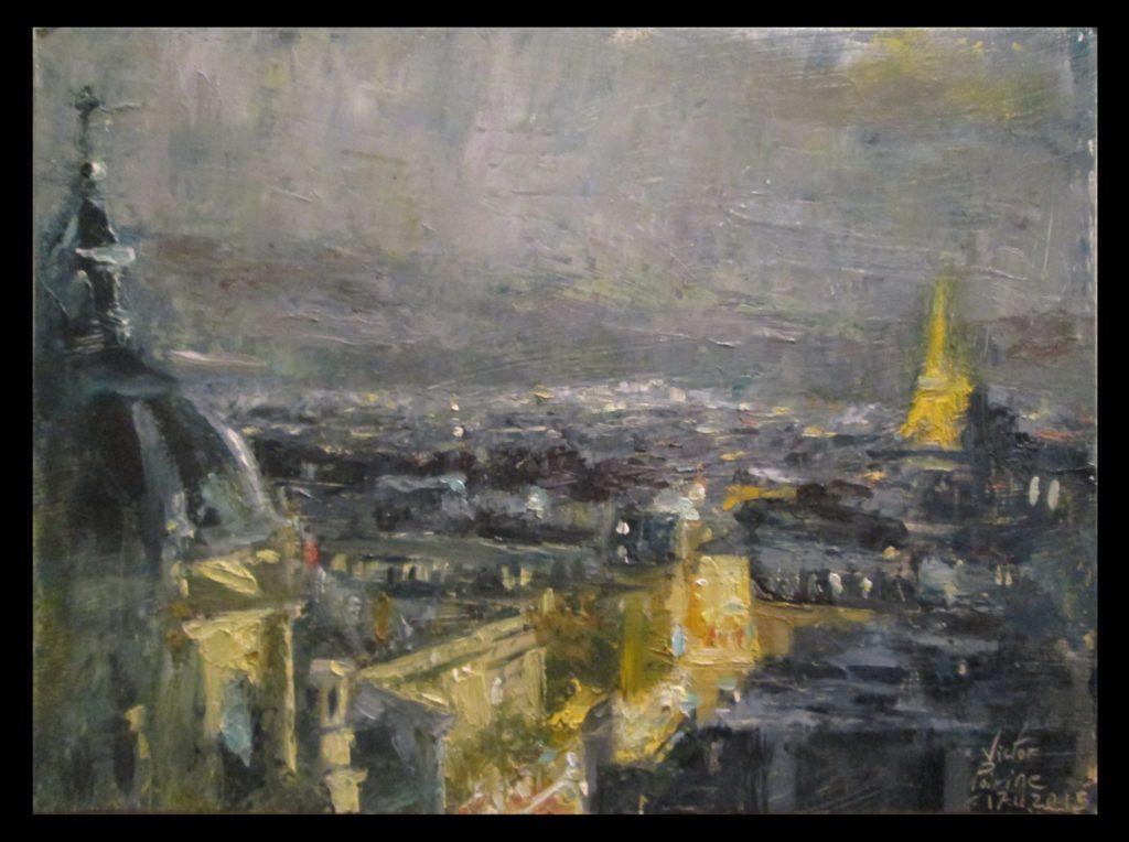 expérimentation n°3 d'après photo. Vue de Paris sur papier cartonné 18,1X13,6 cm