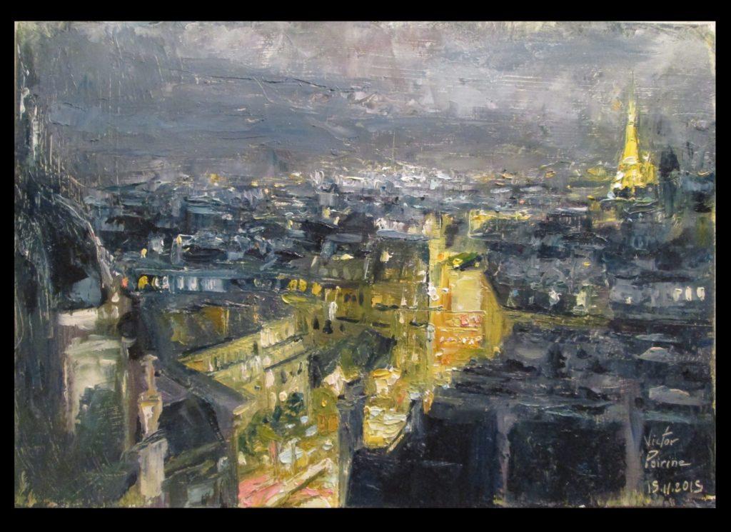 expérimentation n°2 d'après photo. Vue de Paris sur papier cartonné 25X17,3cmVendue