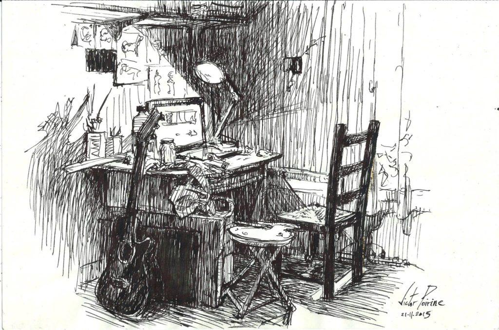 esquisse de mon bureau à l\'encre de chine pour me faire une idée de la lumière d\'une future peinture. Vendue