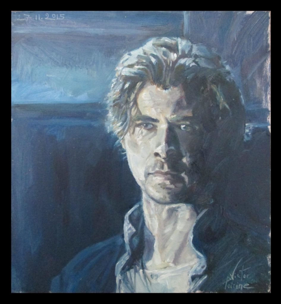 Portrait de Chris Hemsworth,un cadeau18X16,7 cmhuile / oil