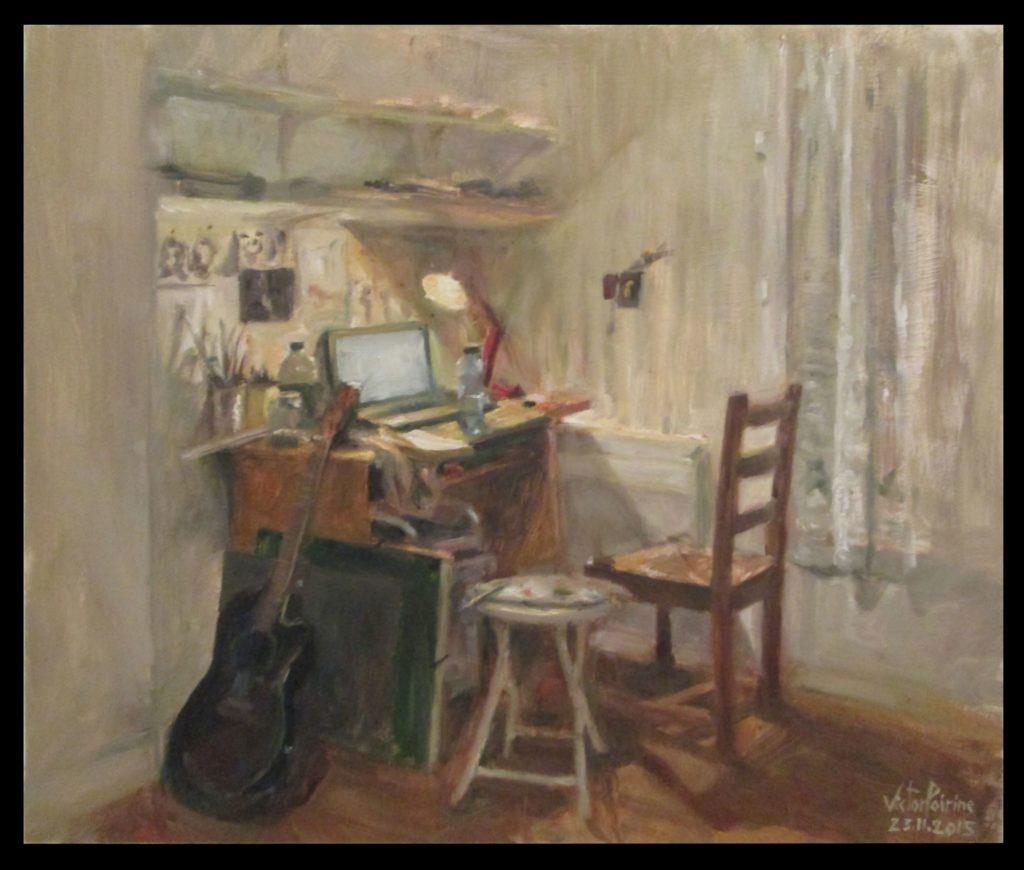 peinture de mon espace de travail à Alfortville 50X42cmhuile sur carton Vendu
