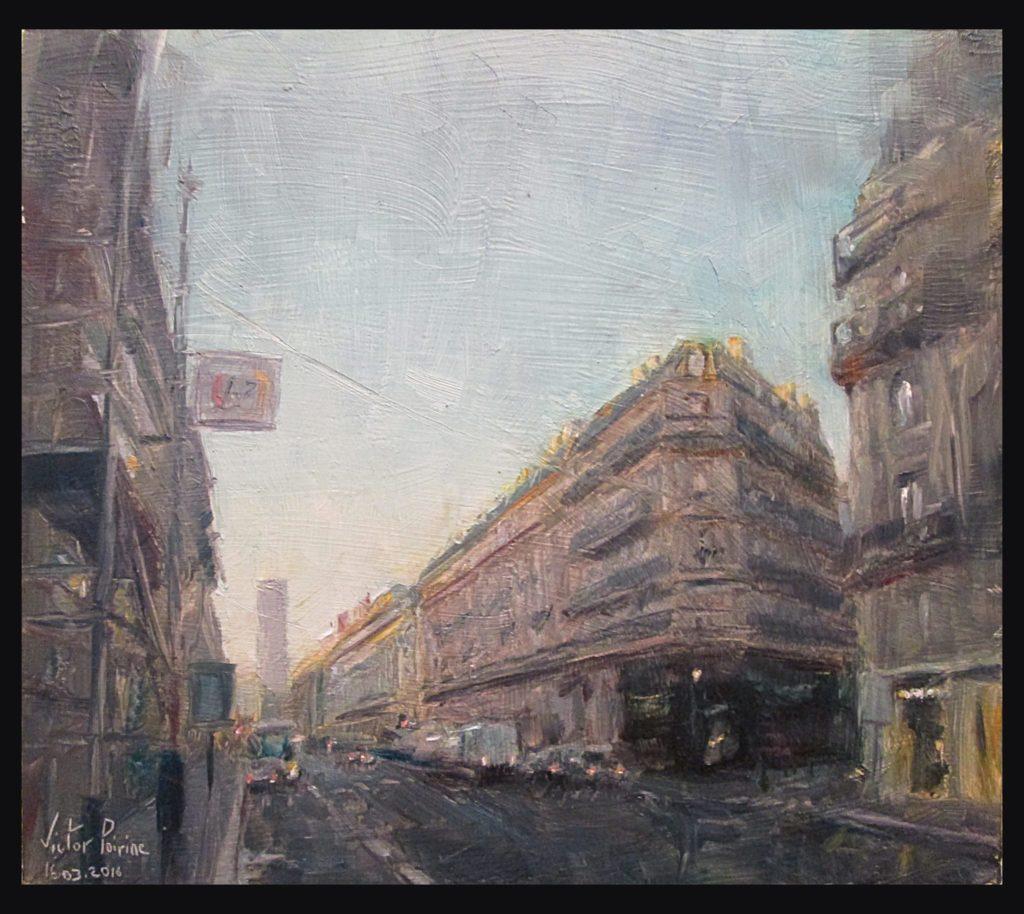 Rue de Rennes à St Germain des Prés, Paris. Peinture à l'huile sur carton, 21x18cm