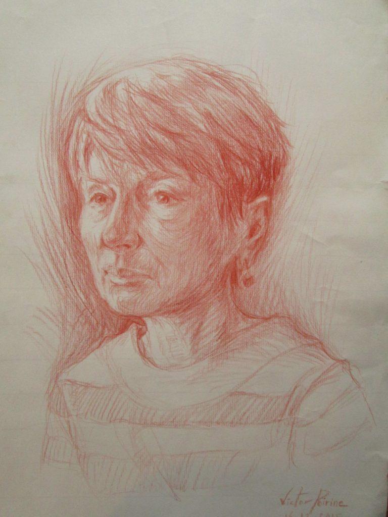 dessin sur A3, papier Ingres, crayon sanguine.Commande vendue