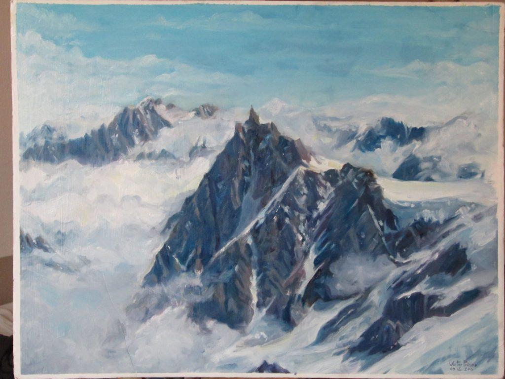 Mont Blanc, peinture à l'huile sur carton, format raisin (50x65cm)