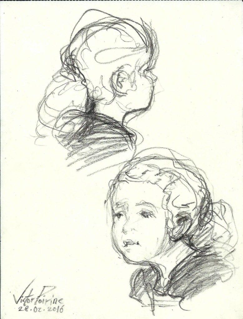 croquis, entre 30 sc et 1min, d\'une petite fille lors d\'un concert de jazz (croquis achetés par les parents)