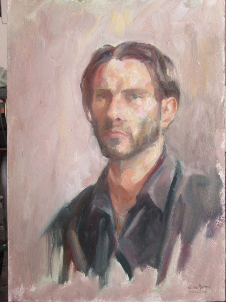 autoportrait à l'huiles sur carton, zoom, 33,5x46,5cm