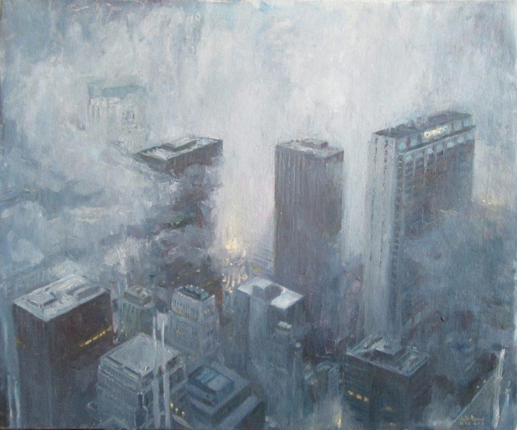 Chicago dans le fog, huile sur toile sur carton58,5x49,5 cm