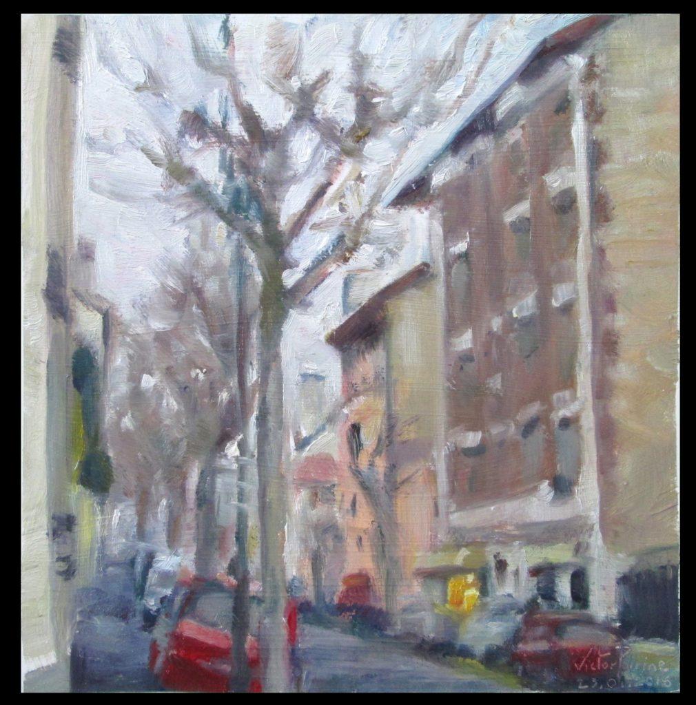 rue de Seine à Alfortville, huile sur carton, 23x24cm