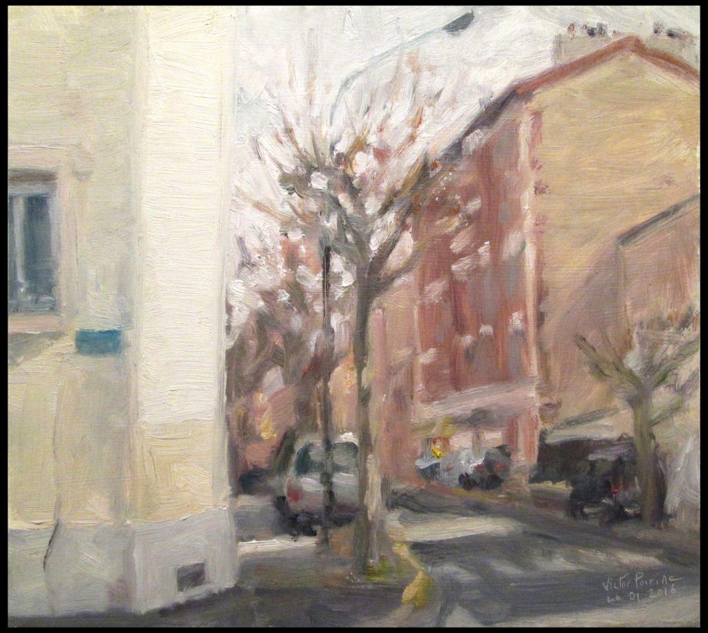 Rue de Seine à Alfortville, huile sur carton, 26x23cm